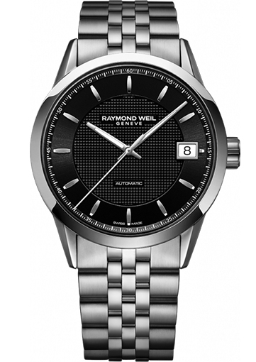 Raymond Weil FREELANCER Automatic date Steel on steel black dial