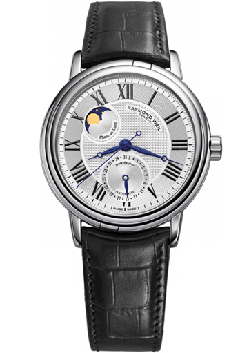 MAESTRO Automatic Moon phase steel on leather strap silver dial