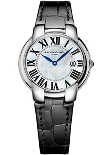 RAYMOND WEIL Jasmine Mother Of Pearl Dial Black Leather Ladies - 5235-STC-00970
