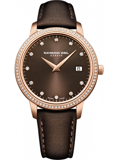 Raymond Weil - TOCCATA 34 mm Steel on leather strap, 91 diamonds, brown dial