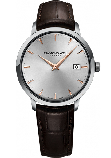 Raymond Weil - TOCCATA 39 mm Steel on leather strap silver dial rose gold PVD plated indexes and hands