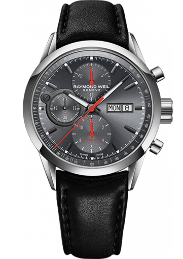 Raymond Weil - FREELANCER Automatic chronograph Steel on leather strap grey dial