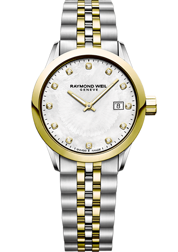 RW FREELANCER 29 mm Two-tone, white mother-of-pearl, set with 12 diamonds 5629-STP-97081