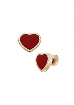 HAPPY HEARTS EARRINGS 18-CARAT ROSE GOLD AND RED STONE