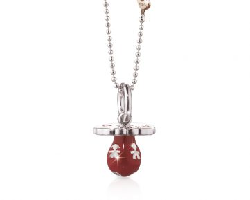 Le Bebe srebrni lančić sa privjeskom - crvena cucla